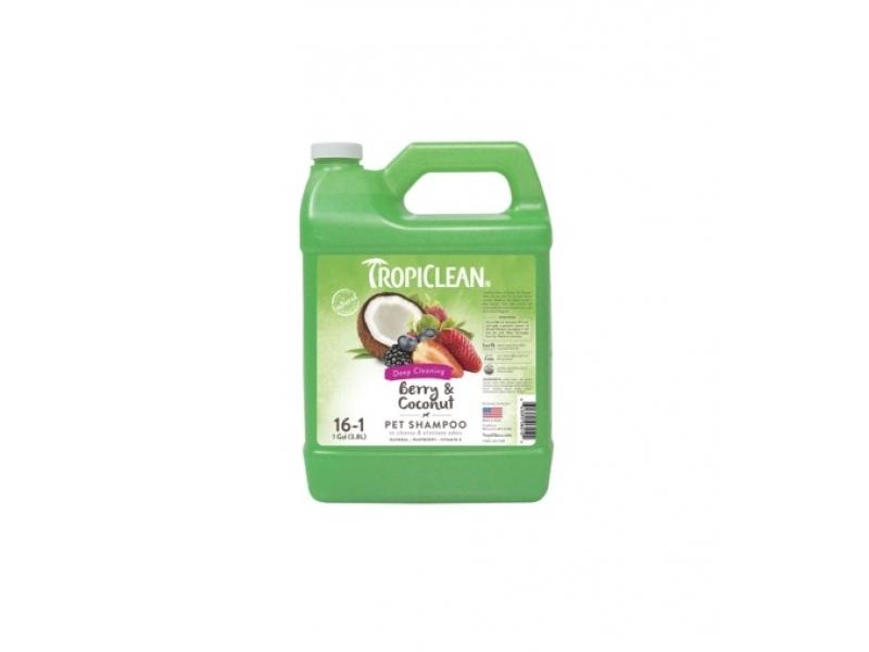 Шампоан за дълбоко почистване и премахване на миризми с Малина и Кокос - Tropiclean Berry and Coconut Shampoo_3,8L