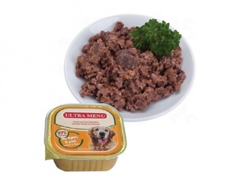 Премиум консервена храна с 95% месо АГНЕШКО и ОРИЗ ULTRA MENU ALUCUPS LAMB and RICE