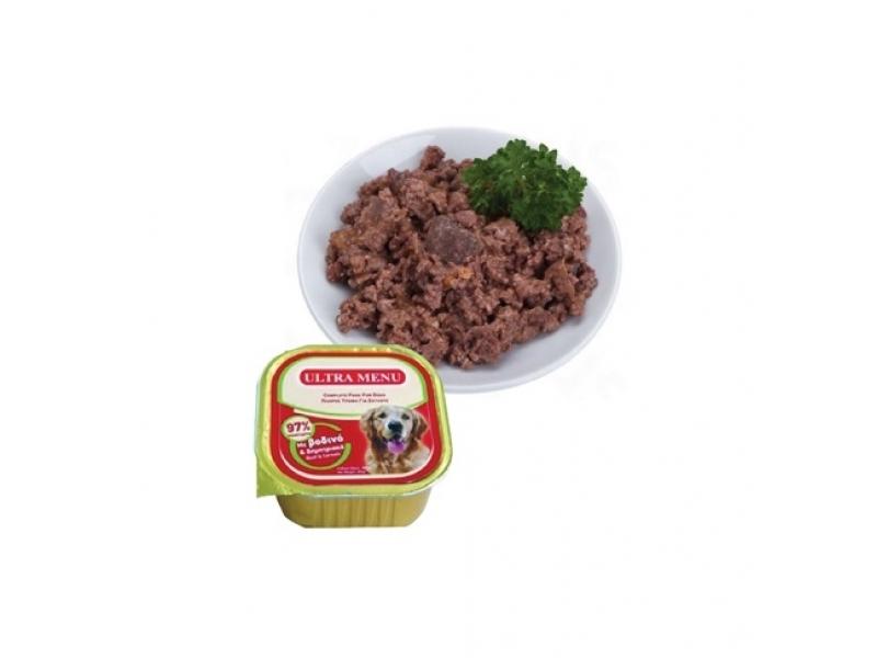 Премиум консервена храна с 95% месо - ГОВЕЖДО  ULTRA MENU ALUCUPS BEEF