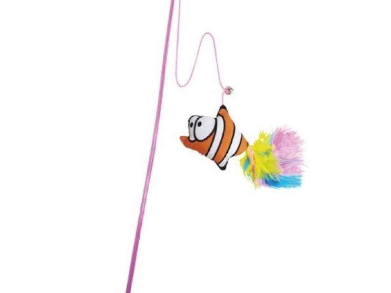 Котешка въдица с плюшена рибка Cat Teaser Soft Toy, 46 см