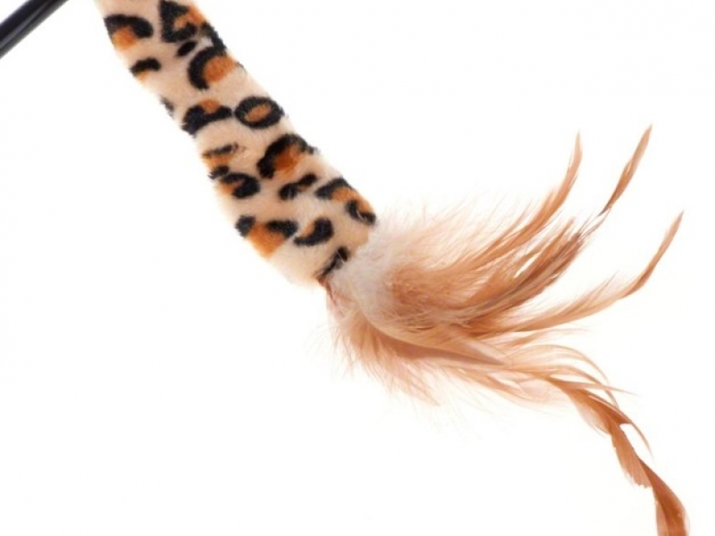 Котешка въдица с тигрова поларена лента Cat Teaser, 37 см
