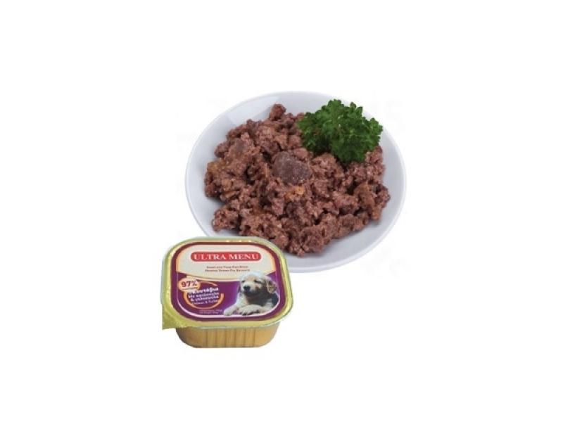 Премиум консервена храна - За малки кученца с  97% месо - ПИЛЕ и ПУЙКА ULTRA MENU ALUCUPS - PUPPY  CHICKEN and TURKEY