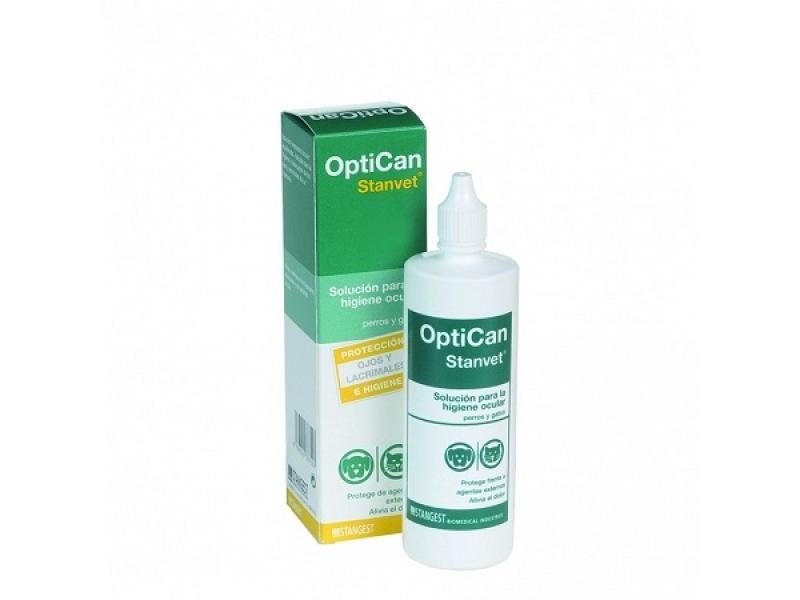 Почистващ и овлажняващ разтвор за очи за Кучета и Котки OPTICAN 125 ml