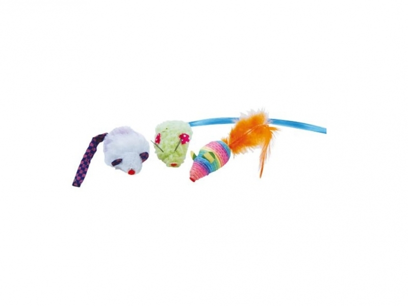 Играчка за котки - плюшени мишки Ratones de Colores, 3 бр.